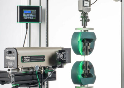 optical extensometer with ASTM E8 tensile specimen